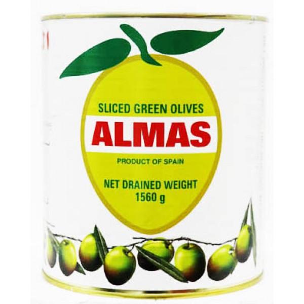 Almas Green Olives Sliced 1.56 Kg