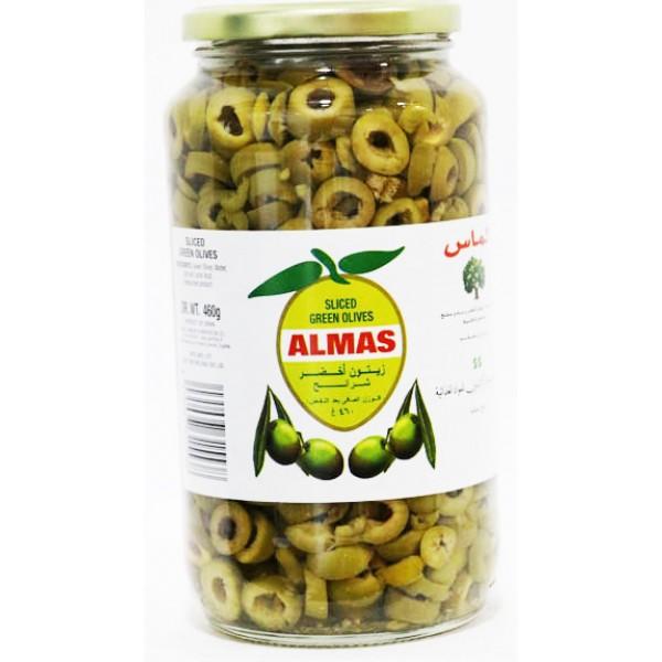 Almas Green Olives Sliced 460 Gm